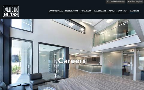 Screenshot of Jobs Page aceglass.net - Careers - ACE Glass - captured Dec. 9, 2018