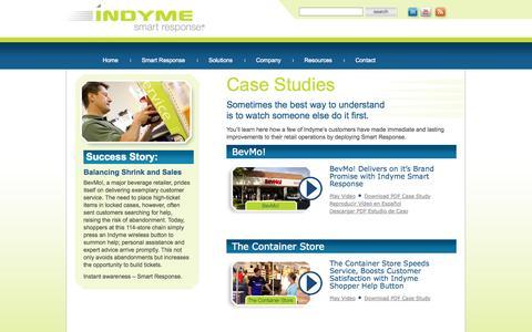 Screenshot of Case Studies Page indyme.com - Case Studies «  Indyme - captured Oct. 6, 2014