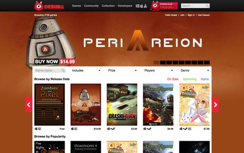Screenshot of Home Page desura.com - Games | Desura - captured Jan. 15, 2015