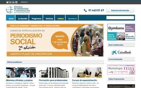Screenshot of Home Page escuelaunidadeditorial.es - Escuela de Periodismo y Comunicación de Unidad Editorial | Unidad Editorial - captured Sept. 19, 2014