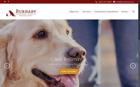 Screenshot of Home Page burnabyvet.com - Burnaby Veterinary Hospital - captured Oct. 11, 2017