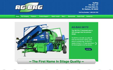 Screenshot of Home Page ag-bag.com - Ag-Bag Systems | St. Nazianz, WI | Home of the Ag Baggers - captured Oct. 31, 2018
