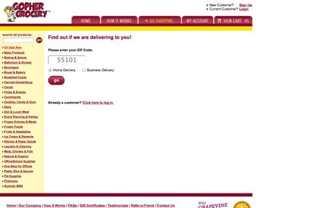 Screenshot of Signup Page gophergrocery.com - Gopher Grocery - Sign Up Now! - captured Sept. 30, 2014