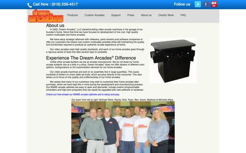 Screenshot of About Page dreamarcades.com - About Dream Arcades | Custom Multicades | Home Arcades - captured Nov. 6, 2018