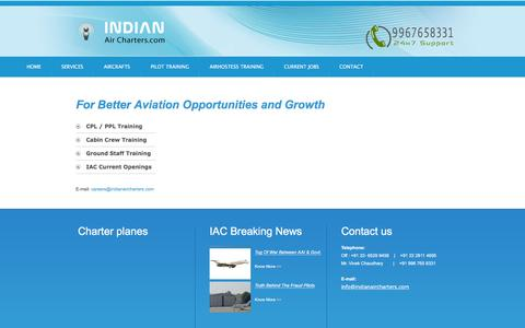 Screenshot of Jobs Page indianaircharters.com - Indian Business Charters : Careers - captured Feb. 5, 2016