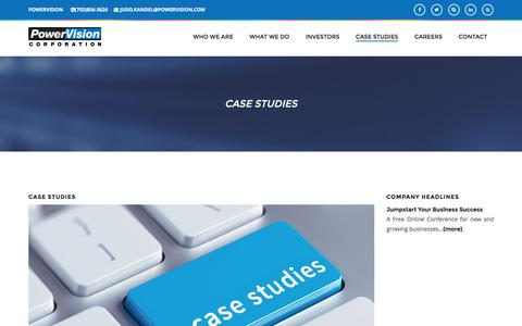Screenshot of Case Studies Page powervision.com - PowerVision Corporation - An e-Business and e-Commerce Solutions Provider - captured Nov. 10, 2016