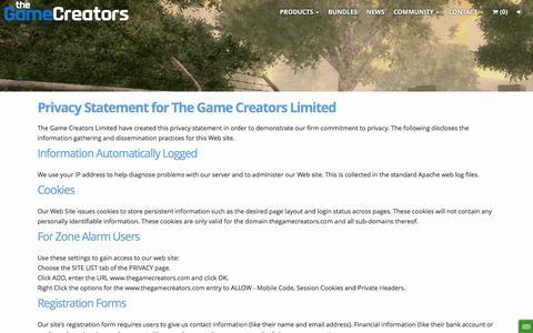 Screenshot of Privacy Page thegamecreators.com - Privacy Policy - TheGameCreators - captured July 3, 2016