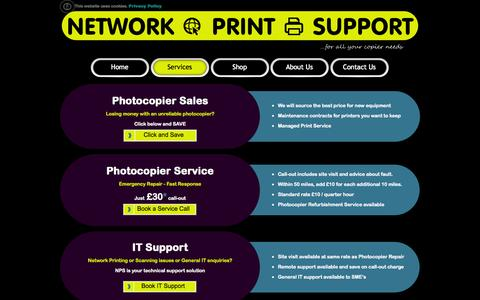 Screenshot of Services Page networkprintsupport.com - Network Print Support LTD - Services including Photocopier Sales, Network Printing, Scanning Support - captured Oct. 26, 2014