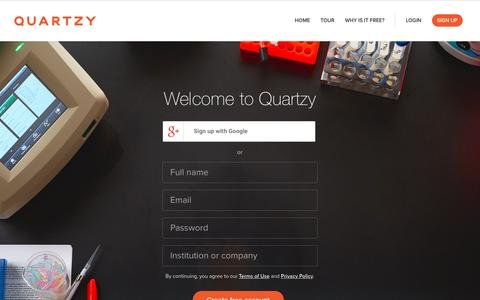 Screenshot of Signup Page quartzy.com - Register for Quartzy - The Easiest Way to Manage Your Lab - captured April 13, 2017