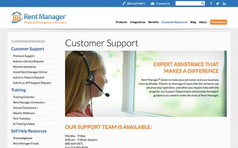 Screenshot of Support Page rentmanager.com - Customer Support | Rent Manager - captured Jan. 13, 2020