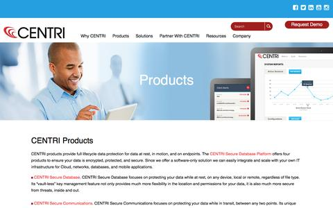 Screenshot of Products Page centritechnology.com - CENTRI – Products for Data Protection and Your Security Solutions - captured July 3, 2016
