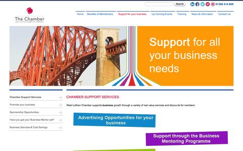 Screenshot of Services Page wlchamber.com - Chamber Support Services | West Lothian Chamber of Commerce - captured Oct. 1, 2014