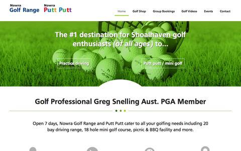 Screenshot of Home Page nowragolfrangeandputtputt.com - Golf Shop | Mini Golf - Nowra Golf Range & Putt Putt - captured Sept. 26, 2014