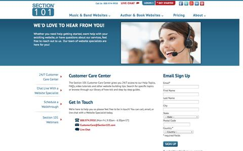 Screenshot of Support Page section101.com - Customer Care Center : Section 101 - captured Sept. 17, 2014