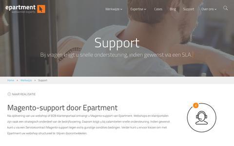Screenshot of Support Page epartment.nl - Magento support door professionals en e-commerce specialisten - captured Aug. 13, 2017