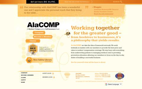 Screenshot of Home Page alacompins.com - AlaCOMP Workers' Compensation Insurance - captured Oct. 7, 2017
