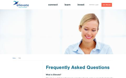 Screenshot of FAQ Page ellevatenetwork.com - Ellevate – a global professional women's network - captured Sept. 25, 2014