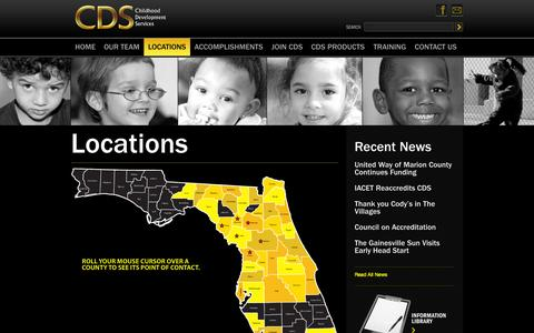 Screenshot of Locations Page discovercds.org - Locations, Discover CDS, Childhood Development Services for Florida, Head Start Services - captured Oct. 1, 2014