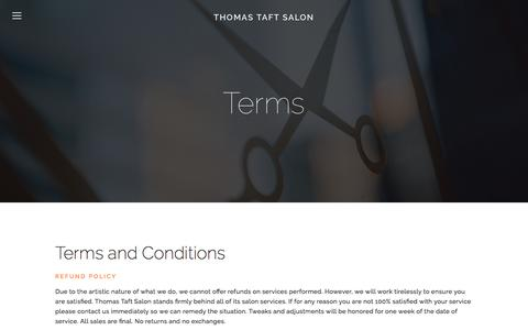 Screenshot of Terms Page thomastaftsalon.com - Terms — Thomas Taft Salon - captured Feb. 29, 2016