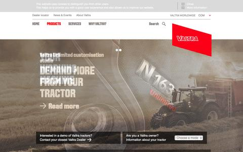 Screenshot of Products Page valtra.com - Products - captured Feb. 17, 2016