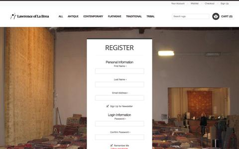 Screenshot of Signup Page lawrenceoflabrea.com - Create New Customer Account - Lawrence of La Brea - captured Sept. 29, 2014