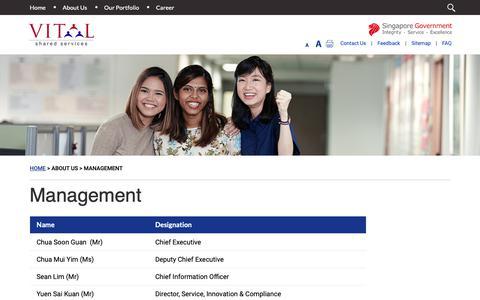 Screenshot of Team Page vital.gov.sg - Management - captured Oct. 18, 2018