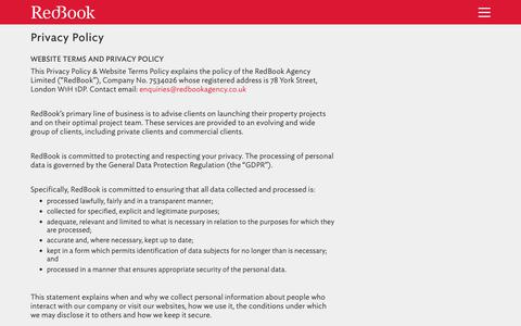 Screenshot of Privacy Page redbookagency.com - Privacy Policy | RedBook Agency - captured Oct. 20, 2018