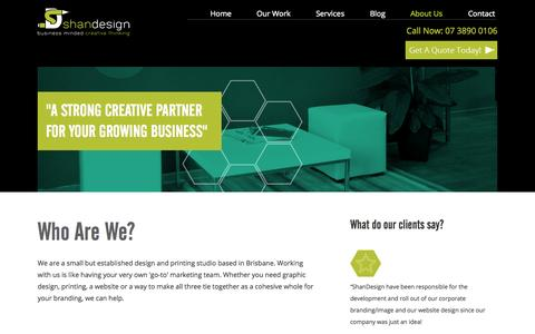 Screenshot of About Page shandesign.com.au - About Us | ShanDesign » ShanDesign - captured Sept. 30, 2014