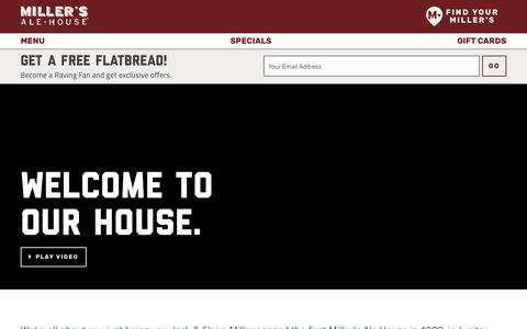 Screenshot of About Page millersalehouse.com - Miller's Ale House | About Us - captured Jan. 7, 2019