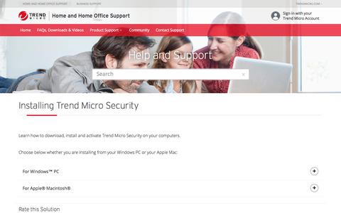 Installation | Trend Micro Security