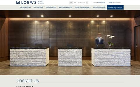 Screenshot of Contact Page loewshotels.com - Hotel Contact Information | Loews Luxury Hotel and Resorts - captured Dec. 14, 2015