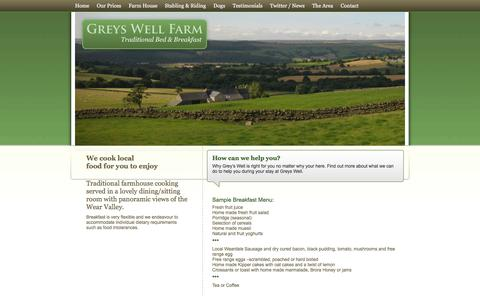 Screenshot of Menu Page greyswellfarm.com - Greys Well Farm - Bed and Breakfast - The Menu - captured Feb. 2, 2016