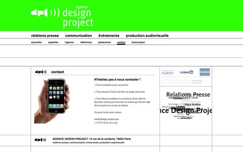 Screenshot of Contact Page design-project.net - contact - Agence Design Project - captured Oct. 4, 2014
