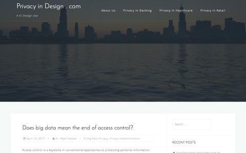 Screenshot of Home Page privacyindesign.com - Privacy in Design . com - A KI Design site - captured Aug. 28, 2017