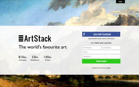 Screenshot of Signup Page theartstack.com - ArtStack - art online - captured Sept. 26, 2015