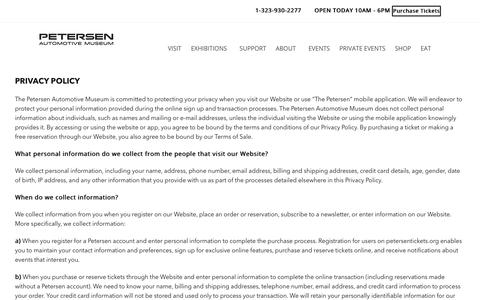 Screenshot of Privacy Page petersen.org - Privacy Policy   Petersen Automotive Museum   Museum Los Angeles   Car Museum - captured Oct. 19, 2017