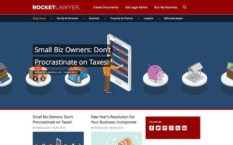 Screenshot of Blog rocketlawyer.com - Rocket Lawyer - Everyday Law Blog - captured Jan. 15, 2016
