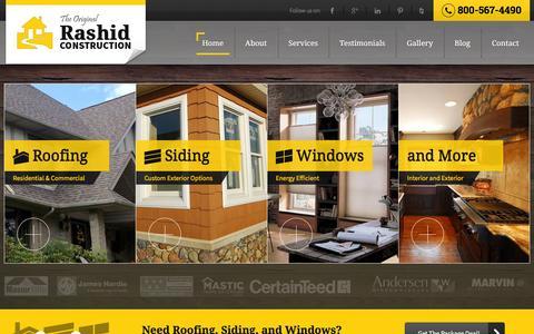Screenshot of Home Page rashidconstruction.com - Roofing Contractor Farmington Hills Michigan - Rashid Construction - captured Feb. 13, 2016