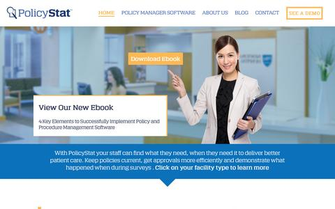 Screenshot of Home Page policystat.com - Policystat Provides industry-leading policy management software for hospitals, labs, outpatient clinics and integrated health networks. - captured April 11, 2016