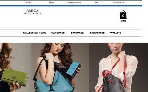 Screenshot of Home Page amicabay.com - Leather Handbag wallets - captured July 8, 2018