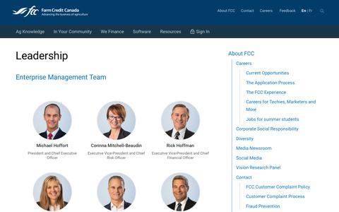 Screenshot of Team Page fcc-fac.ca - Leadership - Farm Credit Canada - captured July 18, 2019