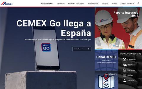 Screenshot of Home Page cemex.es - CEMEX España | CEMEX España - captured Oct. 21, 2018