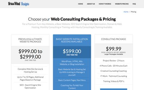 Screenshot of Pricing Page brasswindweb.com - Website & Web Design Consulting Pricings - captured Feb. 8, 2016