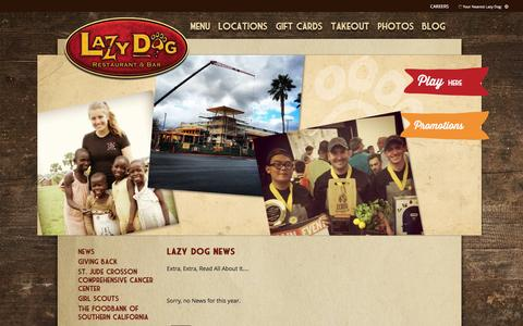 Screenshot of Press Page lazydogrestaurants.com - Lazy Dog Restaurant & Bar News and Updates - captured Jan. 27, 2016
