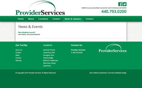 Screenshot of Press Page provider-services.net - News - Provider Services - captured Nov. 14, 2016