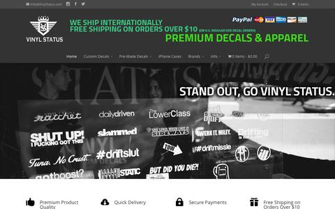 Screenshot of Home Page vinylstatus.com - VINYL STATUS • Affordable Premium Vinyl Decals & Apparel - captured Oct. 7, 2014