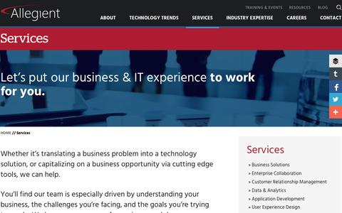 Screenshot of Services Page allegient.com - Allegient | Services | Indianapolis, IN - captured Nov. 4, 2015