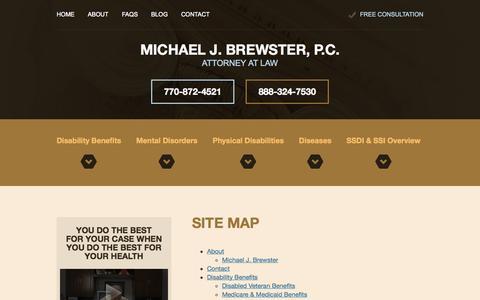 Screenshot of Site Map Page ssdiatlanta.com - Site Map   Michael J. Brewster, P.C., Attorney at Law   Marietta, Georgia - captured Oct. 27, 2014