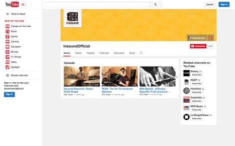 Screenshot of YouTube Page youtube.com - InsoundOfficial  - YouTube - captured Nov. 4, 2014