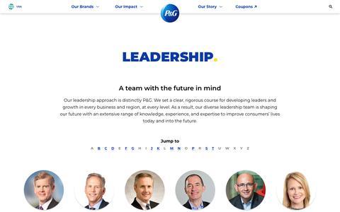 Screenshot of Team Page pg.com - P&G leadership team | About P&G - captured Sept. 19, 2018